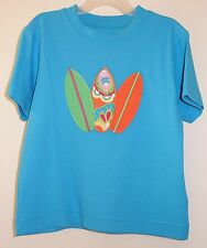 New Kelly's Kids David Bight Turquoise Appliqued Surfboards Shirt Size 3-4