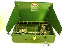 COLEMAN STOVE 425E 2 BURNING CAMPING COOKING 1978 VINTAGE PROPANE BOTTLE
