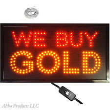 "Large 24x13"" Bright LED We Buy Gold Open Pawn Shop Jeweler Store Sign Light neon"