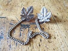 Vintage silver MAPLE LEAF CLOAK FASTENINGS WITH CHAIN ??(PM)