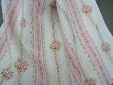 yuwa sträusse aus rosa röschen auf seil übergardinen rosa streifen in creme dobby-traumhaft!!!
