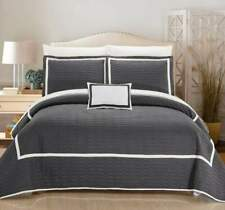 Chic Home Design Mesa Quilt Set 66 X 90 Twin Grey Geometric Embroidered