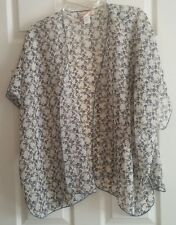 "VGUC Women's ""BAND OF GYPSIES"" Ivory & Blue Floral Boho Festival Kimono Top S/M"