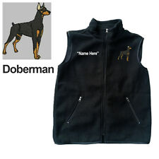 Doberman Dog Fleece Vest with Zippers Personal Name Stitched Monogrammed