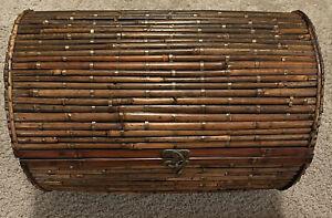 Vintage Wicker Round Trunk Storage Chest Bedroom Rattan Basket