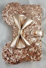 Disney Parks Rose Gold Minnie Mouse Ears Bow iPhone Case Wallet 6 6s 7 8 - NEW