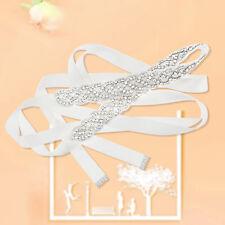 Rhinestone Crystal Wedding Bridal Dress Bride Gown Sash Belt Satin Ribbon Ivory