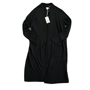 A New Day Womens Long Sleeve Duster Cardigan Sweater Black Pockets Solid