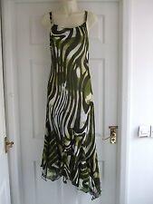 Womens Size 10 Green Brown Dress LADIES SUMMER COCKTAIL SMART EVENING FORMAL