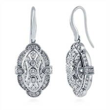 BERRICLE Sterling Silver CZ Vintage Style Milgrain Fish Hook Wedding Earrings