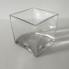 "Jamali Garden Contemporary Clear Glass Cube Vase - 5 1/2"" Square, Container"