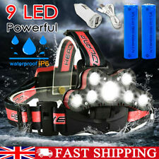 12000000LM T6 LED Headlamp Headlight Torch USB Rechargeable Flashlight Hiking UK