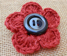 Remembrance day w/Black Button Glittery Red Poppy HandCrochet Corsage/Brooch