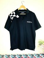 V8 SUPERCARS Official Size L Black Silver Check Flag Logo S/S Polo T Shirt