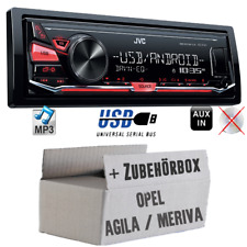 JVC Radio für Opel Agila A Meriva A schwarz MP3 USB KFZ PKW Set Android 4x50Watt