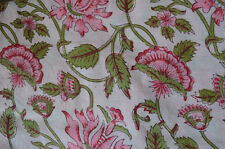 Cotton Fabrics Printed Decor 3 Yard Indian Hand block Print Running Loose Multi