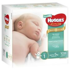108Pck Huggies Unisex Ultimate Leakage Protection born Nappy S1 Up to 5Kg