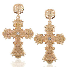Fashion Golden Cross Rhinestone Dangle Drop Statement Earrings For Women E0283