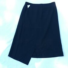 Osaka Women's Black Assymetrical Hem Wool Skirt IV 4 Regular
