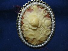 Cameo Brooch Pin surrounded by white pearls