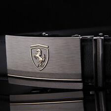 "44"" Men's Leather Belts Designer Casual Automatic Belt Buckle Waist Strap Black"