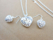 925 Sterlin Silver Jewelry Earring and Pendant Necklace Heart-Shaped Jewelry Set