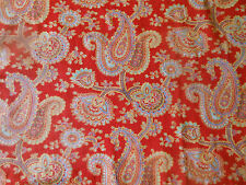 Antique 19thc 1800's Red Floral paisley Cotton Fabric ~ Quilts & Projects