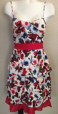 B Darlin Red Blue Floral Spaghetti Strap Cotton Sun Dress Women's Jr Sz 7/8