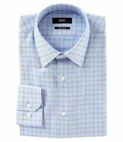 HUGO BOSS ENZO US BLACK LABEL DRESS SHIRT REGULAR FIT POINT COLLAR BLUE -NWT