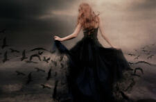 Framed Print - Gothic Woman with Crows Flying from Her Dress (Picture Poster)