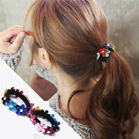 2x Beautiful Women Multicolor Flower Elastic Hair Band Rope Scrunchie Ponytail