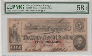 1863 Confederate North Carolina $5 Dollar Note - Jan.1 1863 - Graded 58 PMG