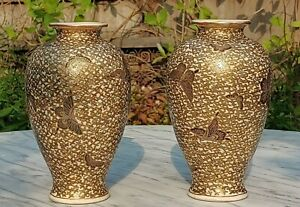 Pair of Japanese Meiji Period Satsuma Thousand Butterfly Hand-painted Gilt Vases