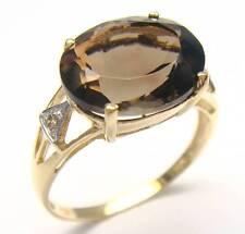 GORGEOUS 9KT YELLOW GOLD 5.2CT SMOKEY TOPAZ & DIAMOND RING   SIZE 7   R928