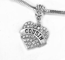 Cousin charm cousins  Crystal Heart charm   fits European bracelet and necklace