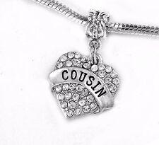 Cousin charm cousins  Crystal Heart charm   fits European bracelet and necklace