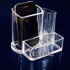 3 Girds Clear Makeup Box Acrylic Cosmetic Organizer Brush Holder Display Storage