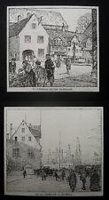 FLENSBURG. Hafen + Nordermarkt. 2 originale Lithographien 1915