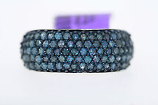 NEW Sterling Silver 1.0ct Round Blue Diamond Band Ring Size 7.25