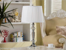 Simplicity Style White E27 Diameter 13CM Crystal+Fabric Bedroom Table Lamp