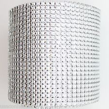 "5 YARDS X  4.75"" SILVER DIAMOND MESH WRAP ROLL  RHINESTONE SPARKLE BLING RIBBON"