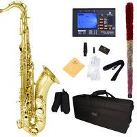 Mendini Bb Tenor Saxophone Sax ~Gold Lacquered +Tuner+Case+Carekit ~MTS-L
