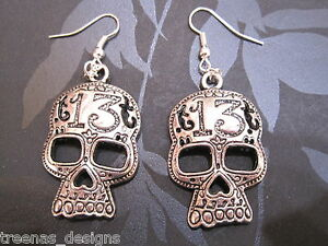 DAY OF THE DEAD LARGE SKULL Tattoo Gothic SP Earrings Punk Rock HALLOWEEN 13