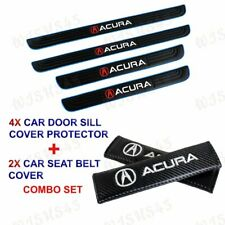 4PCS Blue Border Car Door Scuff Sill Cover Panel Step Protector Combo For Acura