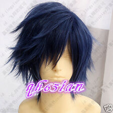 stunning short women's Dark Blue Black Mixed hair wigs Cosplay Wig + Wig cap