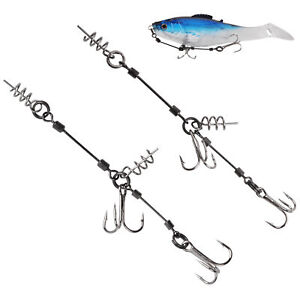 2pcs Fishing Screw Rig Double Fishing Hook with Center Pin for Shallow-Rigging