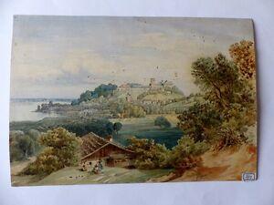 Original Aquarell Schloß Lamberg Römerturm Steyr Österreich signiert 1864
