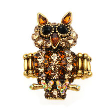 Brown Owl Stretch Ring Crystal Rhinestone Fashion Animal Fashion Jewelry Gift