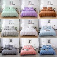 Soft Plain Duvet Cover Pillowcase Quilted Bedding Set Single Double King Super