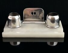 Vintage Art Deco Silver and Alabaster desk stand, inkstand